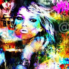 Kate M. Pop Underground / Digital Art /80x80 cm sur Alu