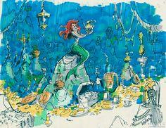 Concept art for Little Mermaid Disney Concept Art, Disney Fan Art, Animation Film, Disney Animation, Underwater Art, Walt Disney Studios, Ariel The Little Mermaid, Visual Development, Mermaid Art