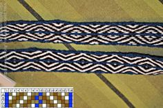 One of my favorite tablet woven bands so far. A simple pattern, with only two threads in one tablet. Pebble weave, isn't it?