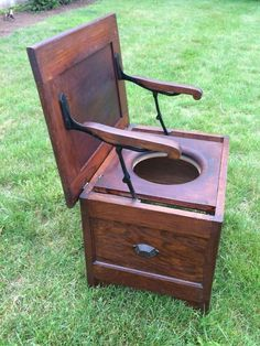 Antique Wooden Chamber Pot Commode Chair Toilet Box Seat Vintage