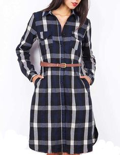 SheIn offers Navy White Long Sleeve Plaid Pockets Dress & more to fit your fashionable needs. Frock Fashion, Fashion Dresses, Woolen Dresses, Dress Shirts For Women, Ladies Shirt Dress, Womens Trendy Tops, Parisienne Chic, Flannel Dress, Check Dress