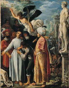 Adam Elsheimer ~ De heilige Laurentius bereidt zich voor op de marteldood ~ ca. 1600-1601 ~ Olieverf op koper ~ 26,7 x 20,6 cm. ~ The National Gallery, Londen