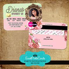 Fl Roses Quinceanera Invitations Credit Card