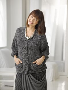 Lion Brand® Homespun® Thick & Quick® Ladies Who Lunch Cardigan #knit #pattern