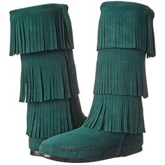 Minnetonka Calf Hi 3-Layer Fringe Boot Women's Pull-on Boots, Green ($75) ❤ liked on Polyvore featuring shoes, boots, green, mid-calf boots, long fringe boots, minnetonka, slip on boots, mid calf fringe boots and minnetonka boots