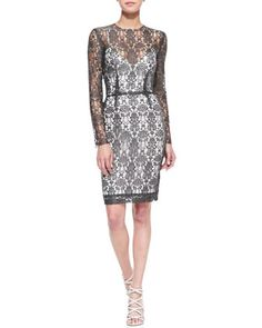 Long-Sleeve Lace Dress w/Slip at CUSP.