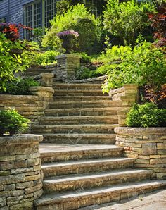 Natural Stone Stairs Landscaping In Home Garden Stock Photo ...