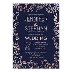 Elegant Navy Blue Rose Gold Floral Wedding Invites - click/tap to personalize and buy
