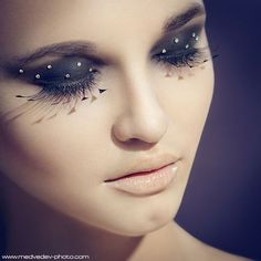 embellished eyes with a nude lip