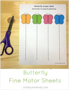 Butterfly fine motor sheets for scissor and pre-writing skill. Comes in both black and white as well as color. Preschool Fine Motor Skills, Preschool Lessons, Preschool Crafts, Science Crafts, Preschool Bug Theme, Bug Activities, Cutting Activities, Pre Writing, Writing Skills