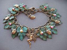 Woodland Fairy Charm Bracelet  Leaf Bracelet by SilverTrumpet, $47.00