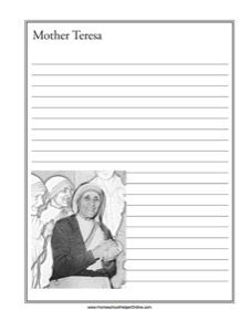 This is a free notebooking page for Mother Teresa. She is best known for her work among the poor in India. You can write about her life and missionary work . History Lesson Plans, World History Lessons, Curriculum, Homeschool, Mother Teresa, Social Studies, American History, India, Writing