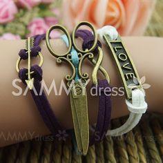 Vintage Scissors Infinity Love Multilayered Charm Bracelet #women, #men, #hats, #watches, #belts, #fashion
