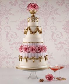 Gorgeous Pink Roses Tiered Cake