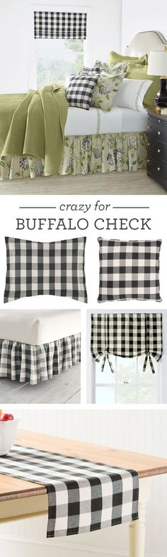 Tried-and-true Buffalo Check is tops! From window treatments and pillows to bed skirts and table runners, this versatile collection has it all.