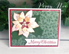 Handmade Christmas card created with the Stampin\' Up! Poinsettia Petals Bundle; designed by Peggy Noe of prettypapercards.com