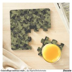 Camouflage military style pattern puzzle coaster