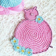 Crochet Pink Pig Coasters Animal Coasters Pig by MonikaDesign