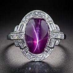 Art Deco Star Ruby Platinum and Diamond Ring