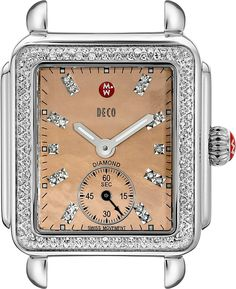 MICHELE Women's MW06V01A1068 Deco 16 Diamond-Accented Stainless Steel Watch Head. Stainless steel watch head featuring over 100 sparkling diamond accents and rose gold-plated dial with subdial at 6 o'clock. Swiss quartz movement with analog display. 29 mm stainless steel case with anti-reflective sapphire dial window. Water resistant to 50 m (165 ft): In general, suitable for short periods of recreational swimming, but not diving or snorkeling. Compatible with 16 mm watch straps.