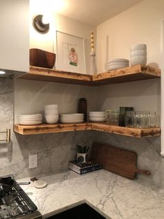 Floating Wall Shelves, Nursery Shelf, Floating Shelves - dear future home - Cozinha Solid Wood Shelves, Wood Floating Shelves, Small Shelves, Wood Shelf, Floating House, Kitchen Shelves, Kitchen Storage, Kitchen Decor, Pig Kitchen