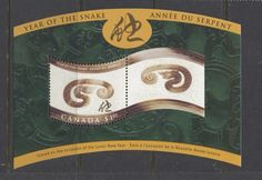 Canada #1884 $1.05 2001 Year of the Snake Souvenir Sheet DF/DF Paper VF-84 NH | eBay
