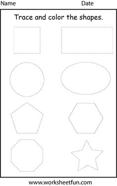 trace the shapes worksheet preschool- for my typically developing students