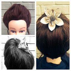 Hair High Up Do with Paper Flower