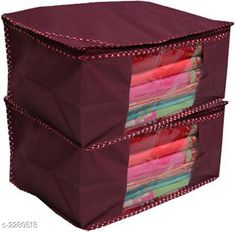 Apparel Storage Spun-Bonded Non-Woven Saree Covers set of 2 Material: Spun-Bonded Non-Woven Size ( L X B X H ):  43 x 35 x 22  cm  Description:  It Has 2 Pieces Of  Saree Cover.Long life High quality saree cover Bag for organizing your costly and favorite sarees Country of Origin: India Sizes Available: Free Size   Catalog Rating: ★3.9 (606)  Catalog Name: Elite Trendy Spun-Bonded Non-Woven Saree Covers Combo CatalogID_303991 C131-SC1628 Code: 771-2280518-552