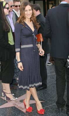 Sarah Jessica Parker Wearing A Nautical Dress On The Hollywood Hall Of Fame, 2005