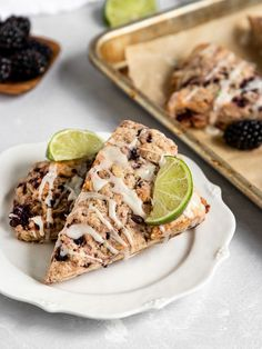 Flaky & soft Vegan Blackberry Scones are topped with a tangy lime glaze for the best fruit scone for breakfast or brunch! Blackberry Scones, Fruit Scones, Vegan Scones, Vegan Dessert Recipes, Dairy Free Recipes, Baking Recipes, Vegan Baking, Vegan Food, Food Food