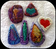 My second set of pendants using Prisme paint and polymer clay.