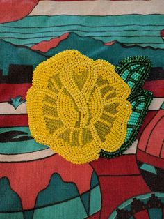 Native American style yellow rose hair barrette handmade beaded