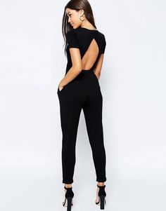 ASOS Wrap Front Jersey Jumpsuit with Short Sleeve - Black