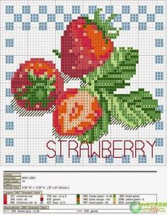 Cross-stitch Fruits Set, part 4 - Strawberry (these are perfect for my kitchen)… Cross Stitch Fruit, Cross Stitch Kitchen, Cross Stitch Needles, Beaded Cross Stitch, Cross Stitch Flowers, Counted Cross Stitch Patterns, Cross Stitch Charts, Cross Stitch Designs, Cross Stitch Embroidery
