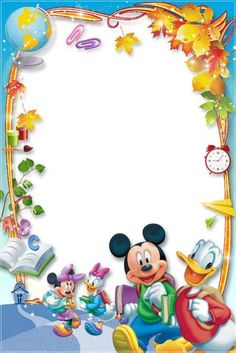Mickey and friends Frame Border Design, Boarder Designs, Photo Frame Design, Disney Photo Frames, Disney Frames, Scrapbook Da Disney, Boarders And Frames, Diy And Crafts, Paper Crafts