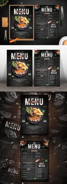 Modern Food Menu by tokosatsu on Envato Elements Pizza Menu Design, Cafe Menu Design, Menu Card Design, Food Web Design, Food Poster Design, Food Menu Template, Restaurant Menu Template, Restaurant Menu Design, Menu Templates