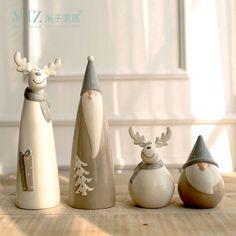 Miz 1 Unidades De Cerámica Decoración De Navidad Fiesta de navidad de Santa Claus Estatuilla Alces Decoraciones para el Hogar de Regalo de Navidad para Los Niños