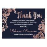 Navy Blue and Rose Gold Floral Thank You Card