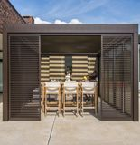 Dynamic garden rooms from SunSpaces have a modular design and an aluminium louvered roof system. Sliding Glass Door, Sliding Doors, Paving Design, Glass Room, St Albans, Roofing Systems, Led Light Strips, Modular Design, Fabric Shades
