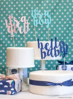 Baby Shower Cake Toppers. FREE click, download, and print svg by Lia Griffith.