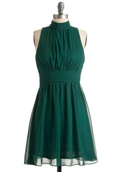 Windy City Dress in Forest - Green, Solid, Party, Vintage Inspired, A-line, Mid-length, Holiday Party, Best Seller, Sleeveless