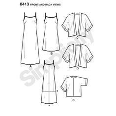 Simplicity Pattern 8413 Misses' Slip Dress in Two Lengths and Kimono Home Economics, Simplicity Sewing Patterns, Sewing For Beginners, Swagg, Clothing Patterns, Couture, Lounge Wear, Dress Pants, Clothes