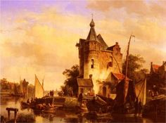 Along The Canal - Cornelis Springer