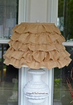 DIY Ruffled burlap shade....DOING THIS RIGHT NOW ON A SQUARE SHADE...WILL POST WHEN DONE. AWESOME.