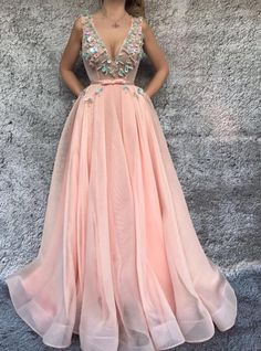 DESCRIPTION Sexy V Neck A Line 2018 Prom Dress Applique Evening Dresses Formal Dress Cheap Tulle Evening Dress This dress could be custom made, there are no extra cost to do custom size and color. Pink Evening Dress, Chiffon Evening Dresses, Formal Evening Dresses, Evening Gowns, Cheap Formal Dresses, A Line Prom Dresses, Dress Prom, Party Dress, Pretty Dresses