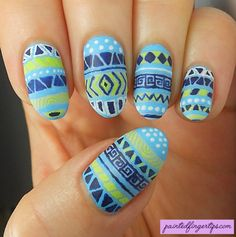 31DC2016 Day 5: Blue - Freehand Tribal Print Nail Art - Painted Fingertips