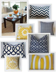 navy & yellow color scheme.  cute pillows. could use the blue mobile and blue vases.  fun. would be a color changeup for us.