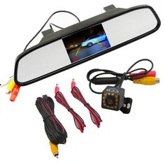 Car Monitor & Backup Camera 2 in 1 4.3 Digital TFT LCD Mirror Auto Car Parking Monitor + 170 Degrees 12 LED Car Rear view Camera