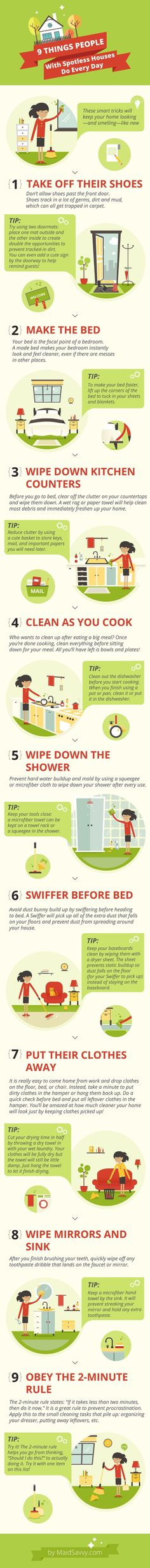 Simple things you can do every day to keep your home clean. Helpful cleaning tips in this infographic! (Minutes Cleanses)